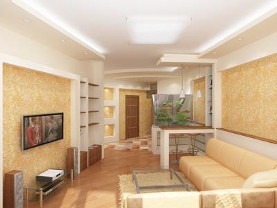 Интерьер квартиры выполнен в теплой